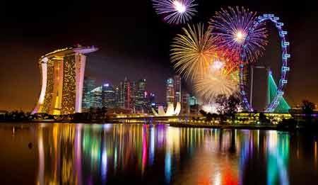 Pháo hoa chào năm mới trên vịnh Marina, Singapore