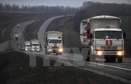 Đoàn xe chuyển hàng viện trợ của Nga tới miền Đông Ukraine (Nguồn: AFP/TTXVN)