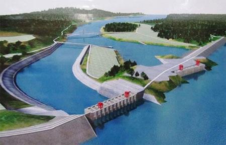 Mô hình thủy điện Myitsone, một trong 3 dự án đã bị Chính phủ Myanmar hủy bỏ. (Ảnh: