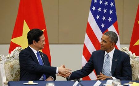 Thủ tướng Việt Nam Nguyễn Tấn Dũng gặp Tổng thống Mỹ Obama bên lề Hội nghị EAS ngày 13/11/2014