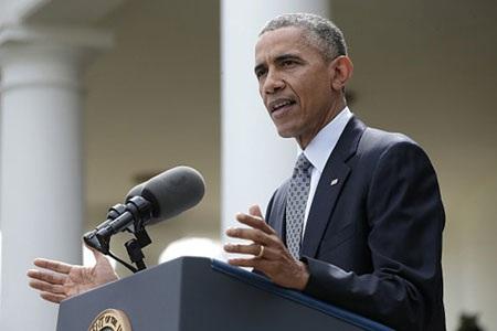 Tổng thống Barack Obama phát biểu tại Vườn Hồng sau khi Iran và Nhóm P5+1 ký thỏa thuận sơ bộ. (