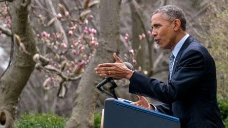 Tổng thống Barack Obama phát biểu về thỏa thuận hạt nhân Iran tại Vườn Hồng, Nhà Trắng, hôm 2/4