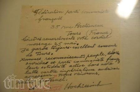 Bút tích của Bác qua những bức thư gửi lãnh đạo Đảng Cộng sản Pháp
