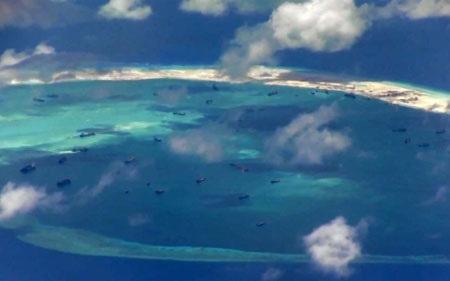 Hình ảnh chụp từ máy bay trinh sát P-8A Poseidon của Mỹ. (Ảnh: