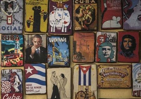 Chân dung nhà lãnh đạo Mỹ Barack Obama được in trên món hàng lưu niệm ở Havana. (Ảnh: