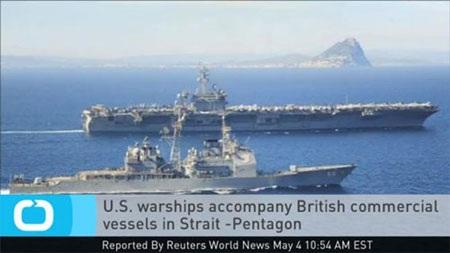 Tàu chiến Mỹ hộ tống tàu thương mại mang cờ Anh đi qua eo biển Hormuz