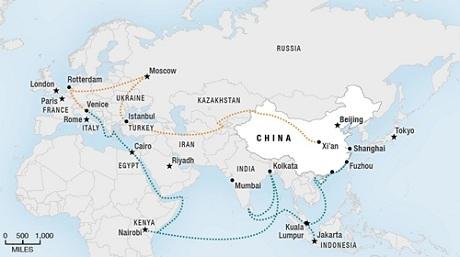 Bản đồ Con đường tơ lụa của Trung Quốc. (Ảnh: