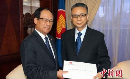 Đại sứ Trung Quốc tại ASEAN Từ Bộ trình thư ủy nhiệm lên Tổng Thư ký ASEAN Lê Lương Minh