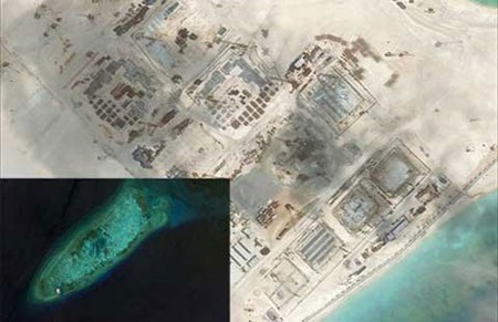 Ảnh vệ tinh chụp đá Chữ Thập hồi tháng 7-2014 chỉ có một cơ sở nhỏ (