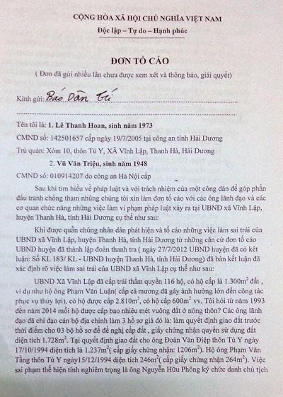 Đơn tố cáo công dân xã Vĩnh Lập gửi đến báo Dân trí