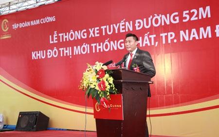 Ông Trần Văn Nghĩa - Tổng Giám đốc Tập đoàn Nam Cường phát biểu tại buổi lễ