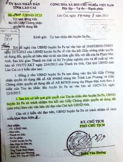 Văn bản chỉ đạo của Chủ tịch tỉnh Lào Cai ban hành tháng 7/2013