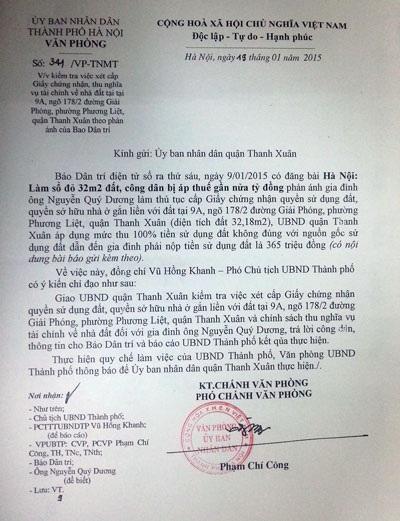 Văn bản chỉ đạo của UBND TP. Hà Nội gửi quận Thanh Xuân