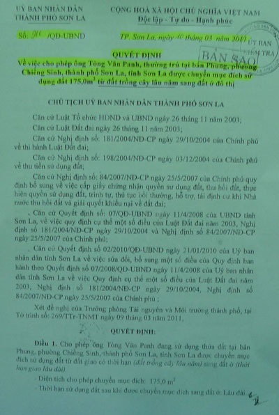 Quyết định chấp thuận cấp sổ đỏ cho hộ ông Phanh của TP. Sơn La.