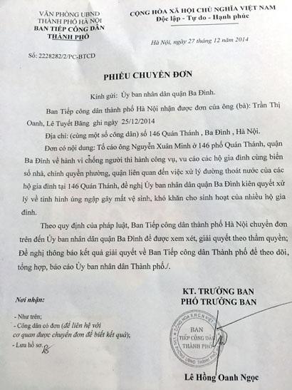 Văn bản TP. Hà Nội gửi UBND quận Ba Đình đề nghị giải quyết quyền lợi của công dân.