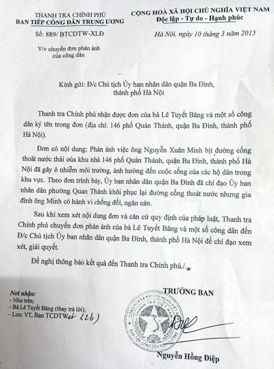 Văn bản chỉ đạo giải cứu cụm dân cư của Thanh tra Chính phủ
