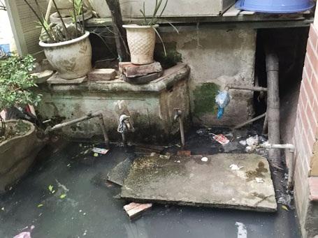 Khu phụ tập trung các vòi nước sạch luôn ngập trong nước thải đen kịt