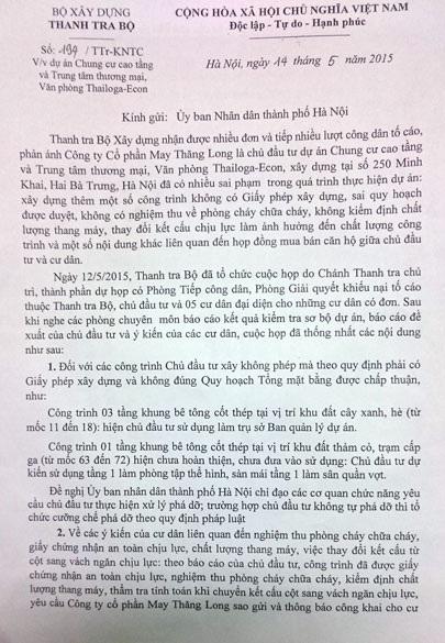 Công văn của Thanh tra Bộ xây dựng đề nghị TP. Hà Nội xử lý nghiêm vi phạm