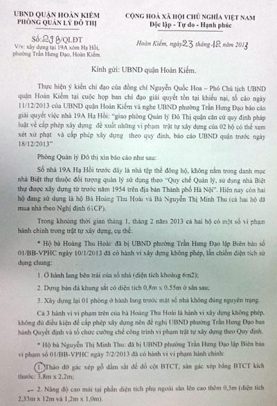 Từ tháng 12/2013, Phòng Quản lý Đô thị quận Hoàn Kiếm đã có đề xuất phương án xử lý vi phạm TTXD
