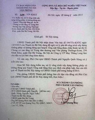 Công văn chỉ đạo xử lý của UBND TP. Hà Nội