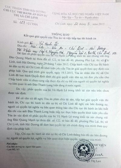 Tòa đình chỉ vụ án, Chi cục THA Chí Linh vẫn ban hành văn bản có dấu hiệu trái luật