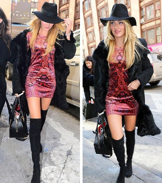 Bất chấp thời tiết giá lạnh, Candice diện váy ngắn và bốt cao tới đùi khi tới buổi phỏng vấn.
