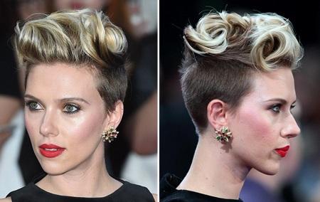 Mái tóc cực ấn tượng và cá tính của Scarlett khiến cô như biến thành một người khác.