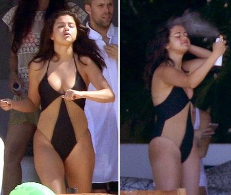 Cô tranh thủ xịt dưỡng ẩm và thoa kem chống nắng để bảo vệ làn da.