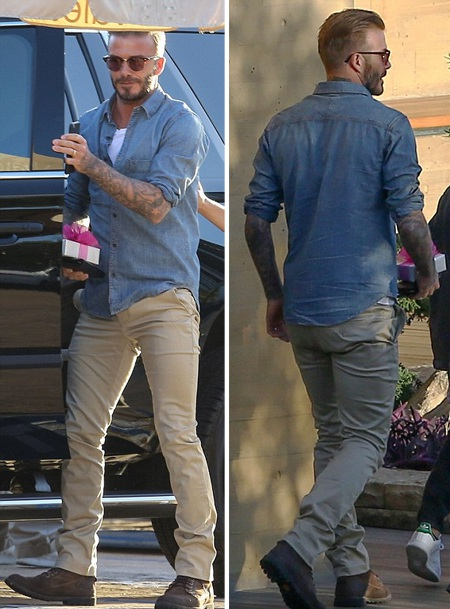 Ông bố David Beckham trẻ trung với áo sơ mi bò và quần ống côn.