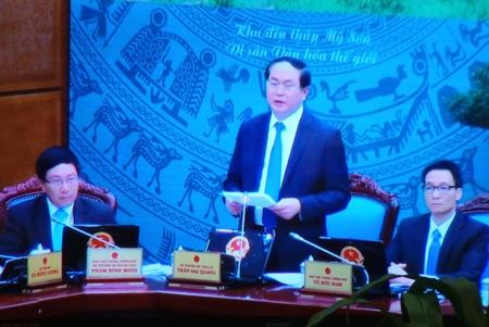 Bộ trưởng Công an Trần Đại Quang phát biểu tại hội nghị trực tuyến Chính phủ với các địa phương.