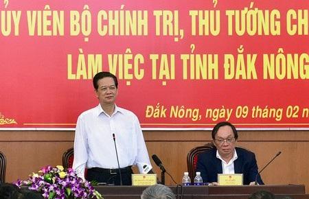 Thủ tướng làm việc với lãnh đạo tỉnh Đắk Nông.