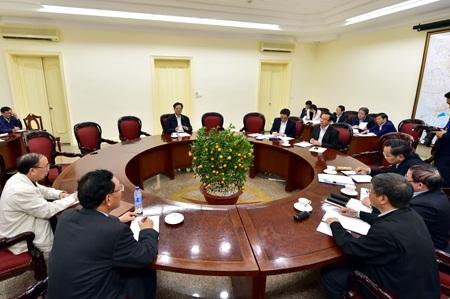 Thủ tướng Nguyễn Tấn Dũng chủ trì cuộc họp về chuẩn bị kỳ thi chung quốc gia. (Ảnh: Chinhphu.vn)