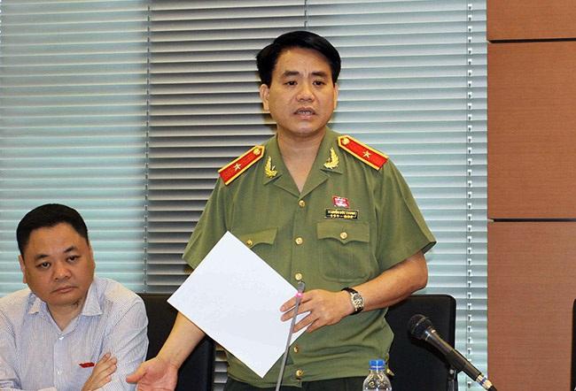 GĐ Công an Hà Nội Nguyễn Đức Chung tại phiên thảo luận chiều 26/5 (ảnh: Việt Hưng).