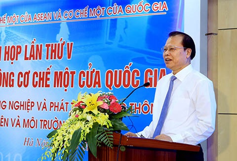 Phó Thủ tướng Vũ Văn Ninh trong lễ công bố chính thức cơ chế một cửa quốc gia.
