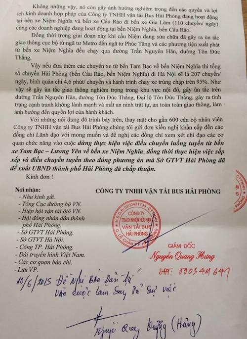 Đơn kiến nghị khẩn cấp của doanh nghiệp vận tải Bus Hải Phòng gửi báo Dân trí.