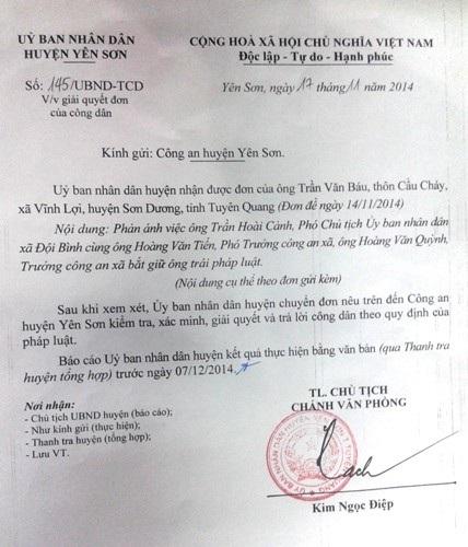 UBND huyện Yên Sơn giao công an điều tra vụ phó chủ tịch xá bị tố bắt dân trái pháp luật.