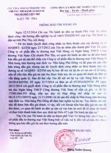Thông báo thi hành án mới nhất mà Chi cục THA TP Việt Trì ban hành với Công ty Việt Hưng.