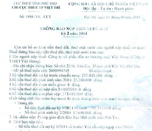 Công ty Việt Hưng vẫn nhận được thông báo nộp thuế đất từ Chi cục thuế TP Việt Trì.