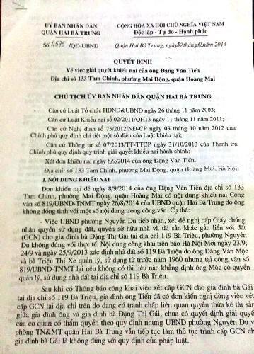 Đề nghị cấp sổ đỏ cho dân, Chủ tịch phường Nguyễn Du phải...nghiêm túc rút kinh nghiệm.