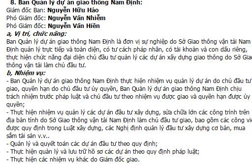Cơ cấu, chứng năng và nhiệm vụ của Ban quản lý dự án giao thông Nam Định .