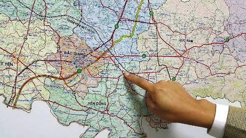 Bản đồ các tuyến giao thông tỉnh Bắc Giang với nhiều tuyến đường đang được xây dựng, cải tạo.