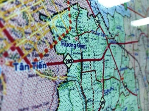 Bản đồ giao thông tỉnh Bắc Giang với tuyến đường tỉnh lộ 293 đang được thi công.