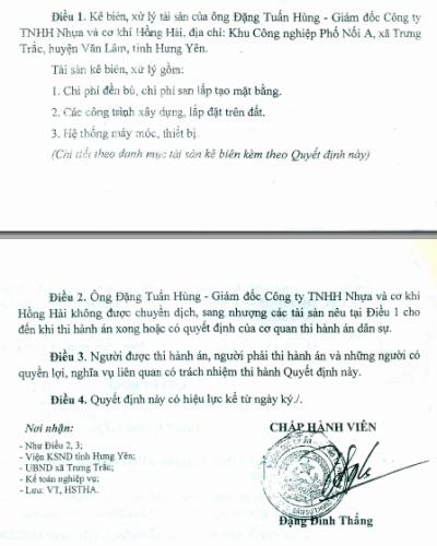 TAND tỉnh Hưng Yên lại ra Quyết định bị đơn là cá nhân ông Đặng Tuấn Hùng - Giám đốc