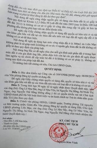 Công văn của UBND quận Bắc Từ Liêm bác việc cấp sổ đỏ cho gia đình ông Sắc.