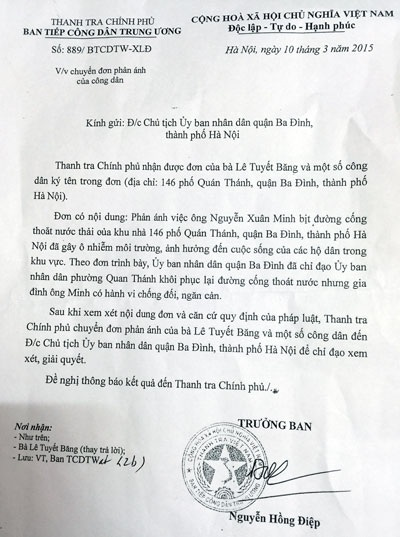 Thanh tra Chính phủ và UBND TP Hà Nội chỉ đạo giải cứu người dân tại số 146 Quán Thánh.