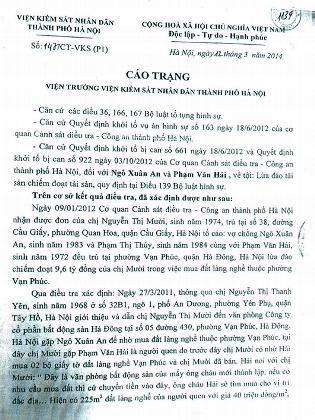 Cáo trạng truy tố 2 bị can Phạm Văn Hải và Ngô Xuân An về tội Lừa đảo chiếm đoạt tài sản.