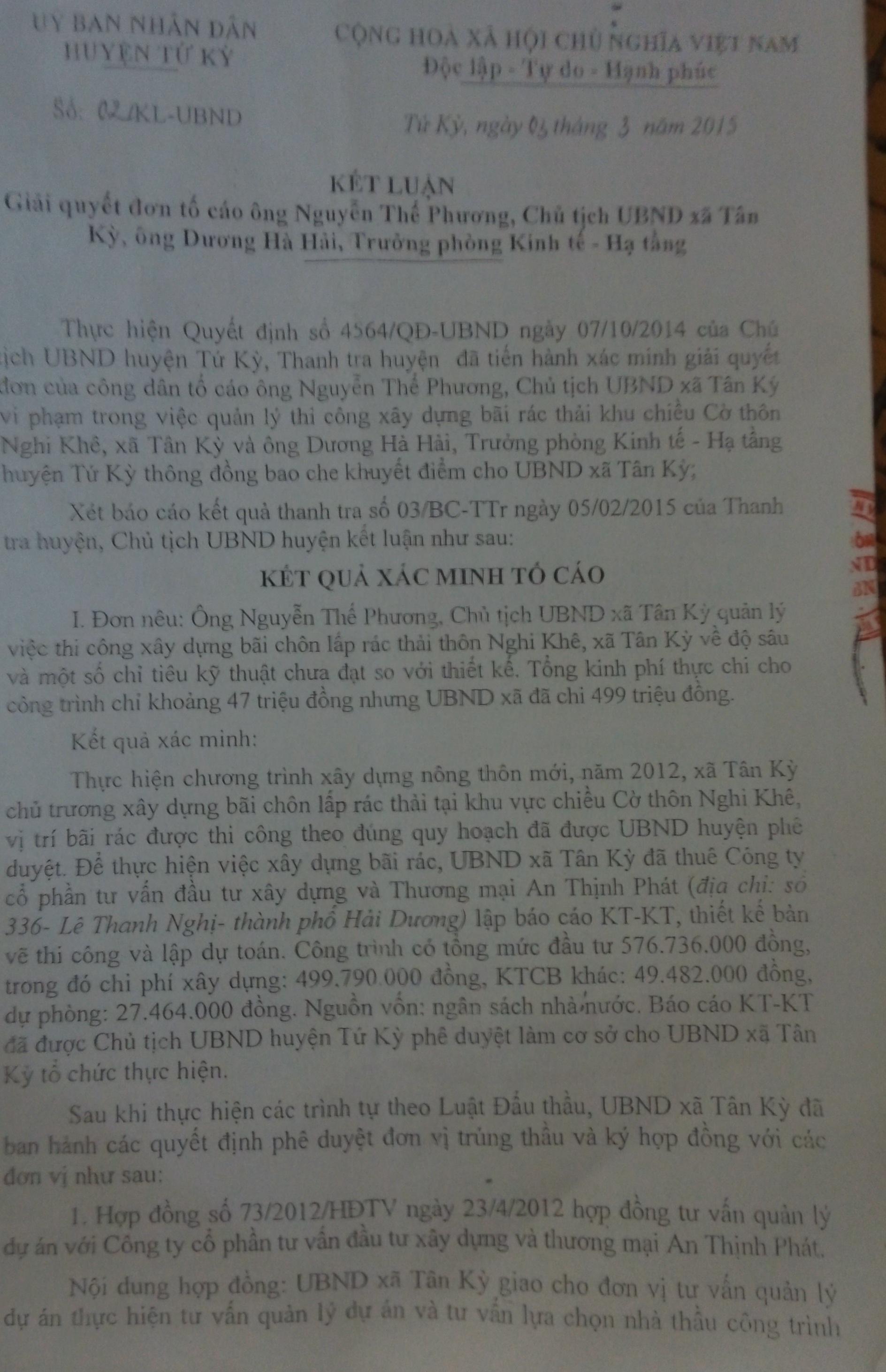 Kết luận thanh tra của UBND huyện Tứ Kỳ.