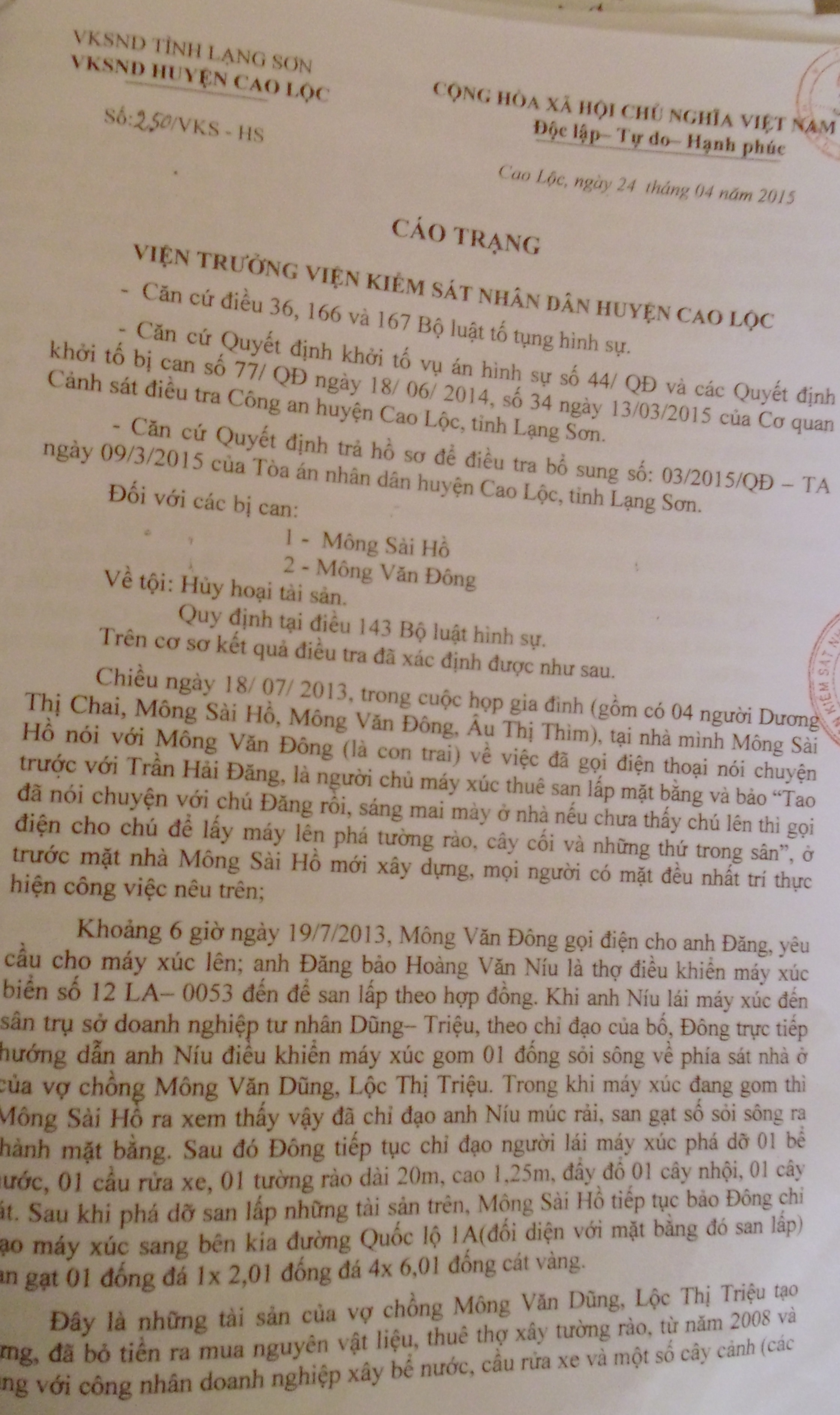 Cáo trạng truy tố 2 bộ con bị can Mông Sài Hồ của VKSND huyện Cao Lộc.