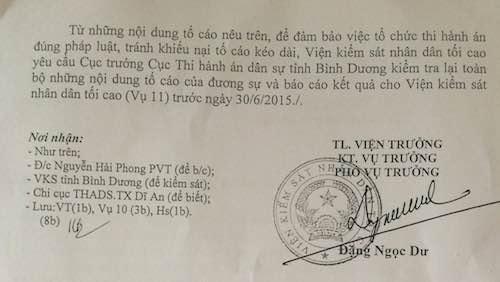 VKSND Tối cao yêu cầu Cục thi hành án Bình Dương xem xét đơn tố cáo của công dân.