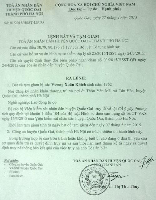 Bị can Vương Xuân Khích bị TAND huyện Quốc Oai ra lệnh bắt tạm giam trước phiên toà.